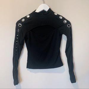 LF Tops - LF Black Long Sleeve Ring Top size XS